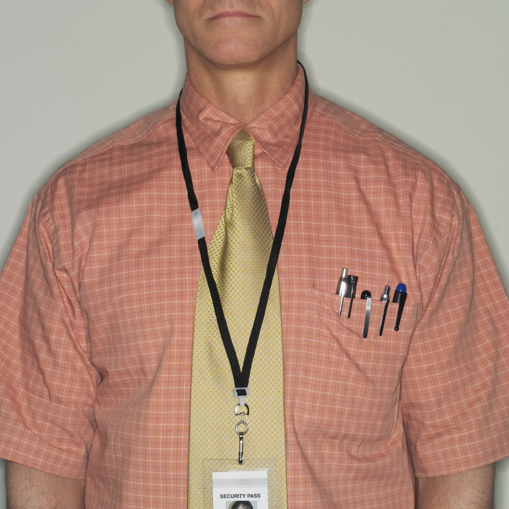 Man with Name Badge