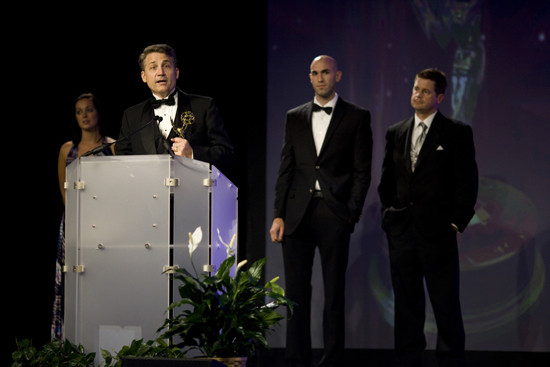 Brad Mattes receiving Emmy Award