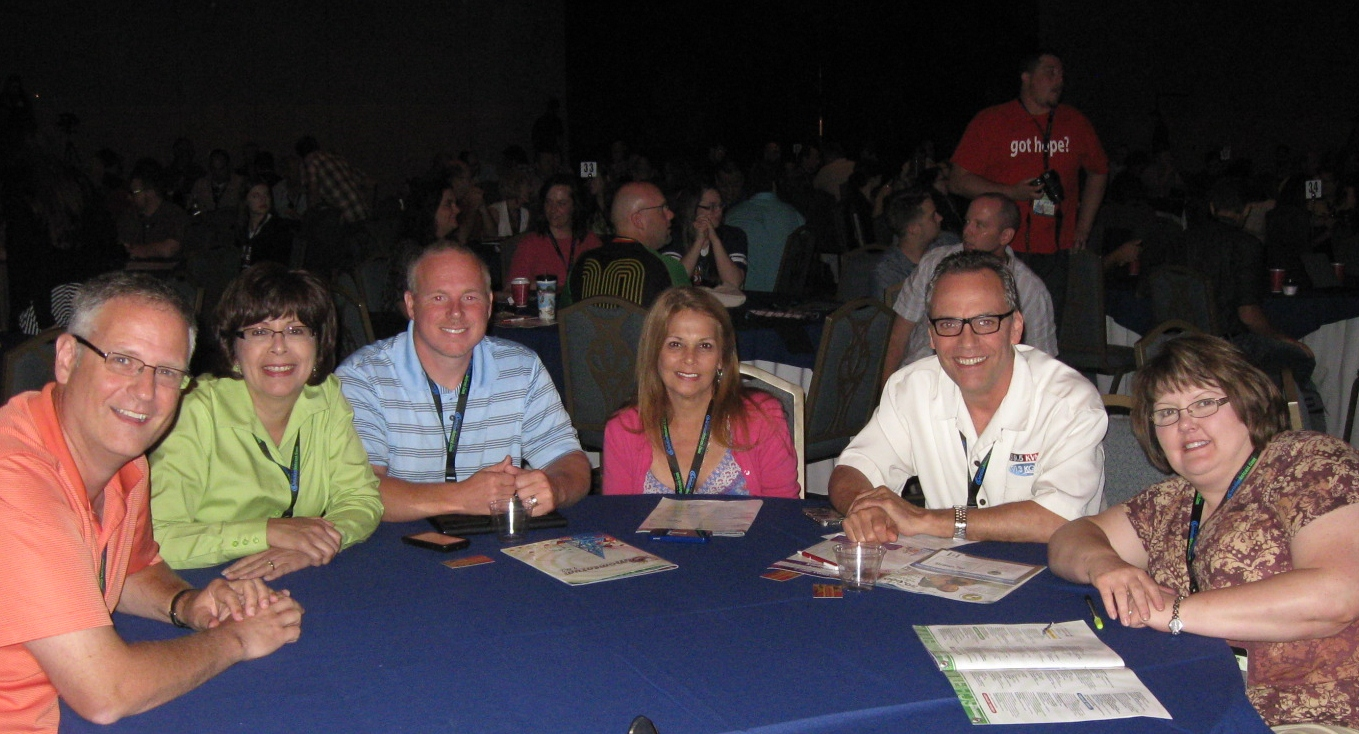 Roundtable participants during educational sessions at Momentum (L-R: David Harms-i5810media, me, Richard Cummins-WLAB, Lois/Mike Harper-KVNE, Cheryl Gardner-New Life Media)